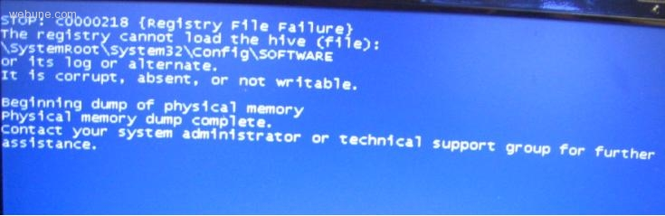 Windows Blue Screen Error: The Registry Cannot Load The Hive (file)