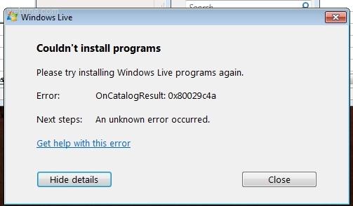 Error: Oncatalogresults: 0x80029c4a