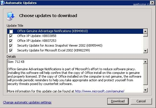 Office genuine advantage notification (kb49810).